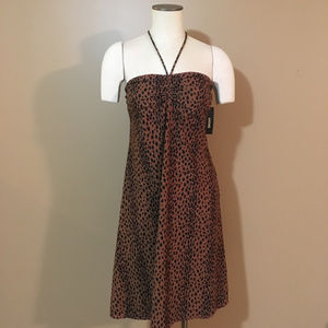 DKNY Animal Print Brown cover up dress Large